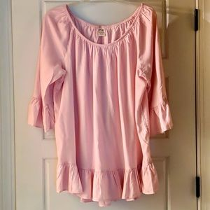 PINK PEASANT STYLE BLOUSE LONG TERRA & SKY NEW TOP